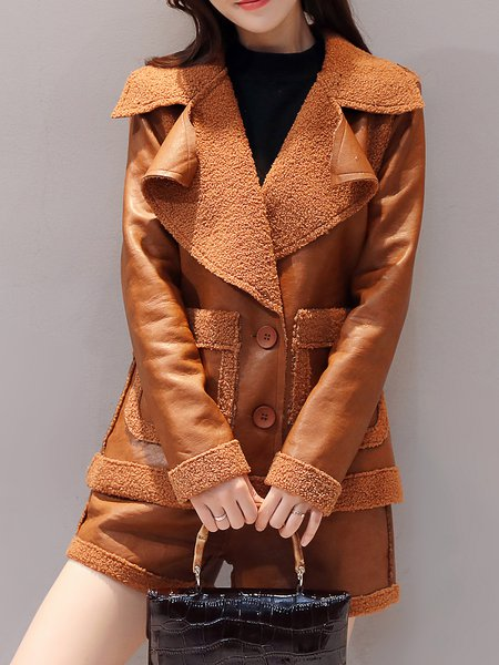 Long Sleeve Solid Lapel Casual Coat With Pants