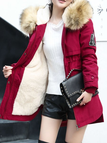 Slit Casual Long Sleeve High Low Fur And Shearling Coat
