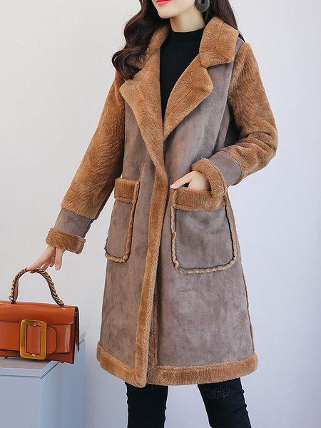 Lapel Long Sleeve Casual Paneled Fur And Shearling Coat