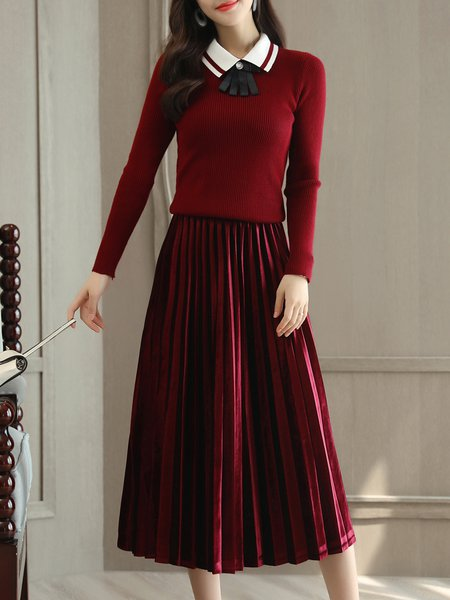Burgundy Shirt Collar Long Sleeve Ribbed Top With Skirt