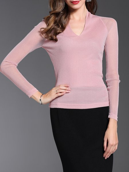 V Neck Casual Solid Long Sleeve Blouse