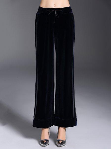 Navy Blue Casual Velvet Wide Leg Pants