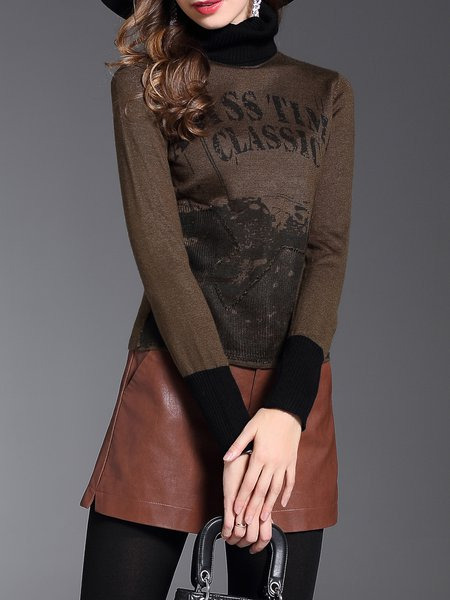 Casual Long Sleeve Ribbed Letter Sweater