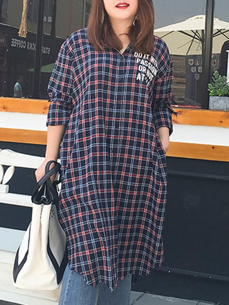 Cotton Checkered/Plaid Long Sleeve Shirt Collar Tunic