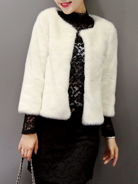 Crew Neck Fluffy Elegant Long Sleeve Fur And Shearling Coat
