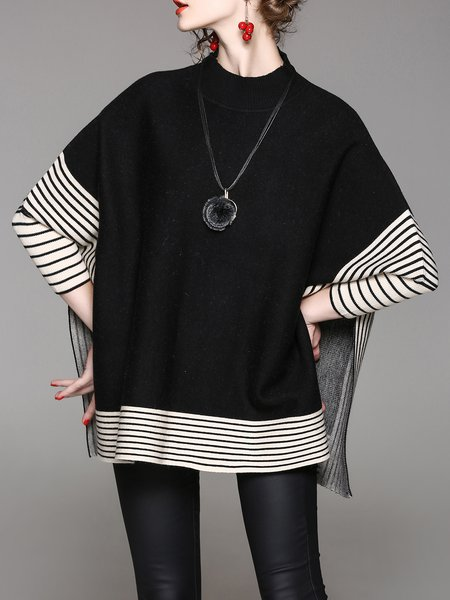 Plus Size Casual Stand Collar Knitted Batwing Slit Poncho And Cape