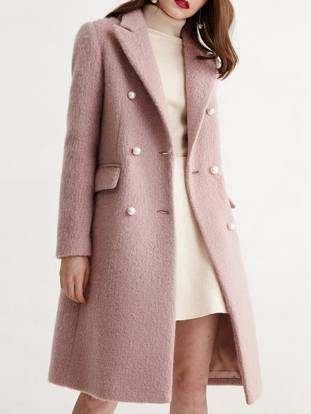Pink Long Sleeve Buttoned Lapel Solid Coat