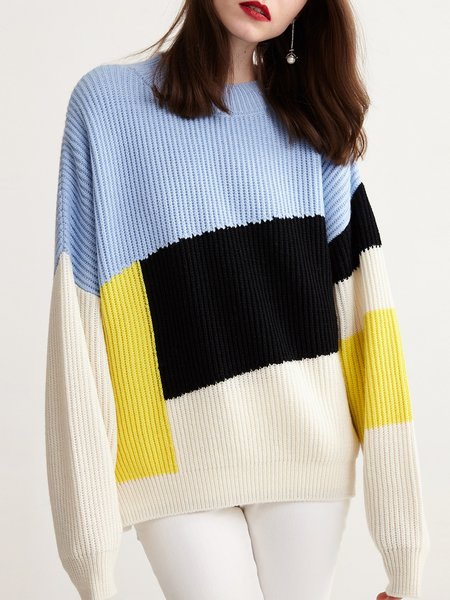 Plus Size Casual Crew Neck Long Sleeve Slit Knitted Sweater