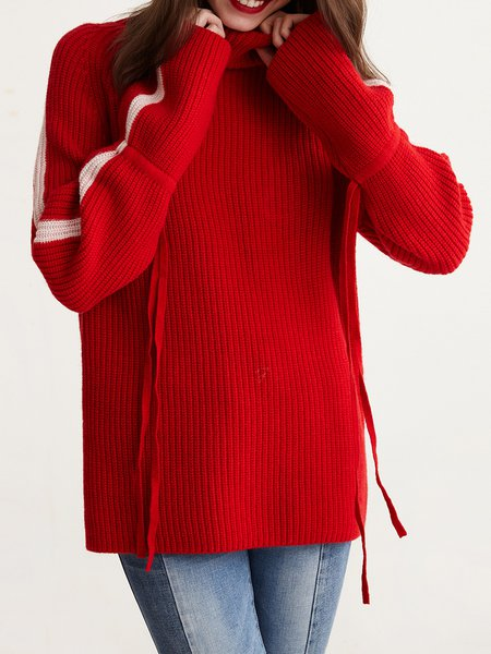 Red Casual Turtleneck Knitted Sweater