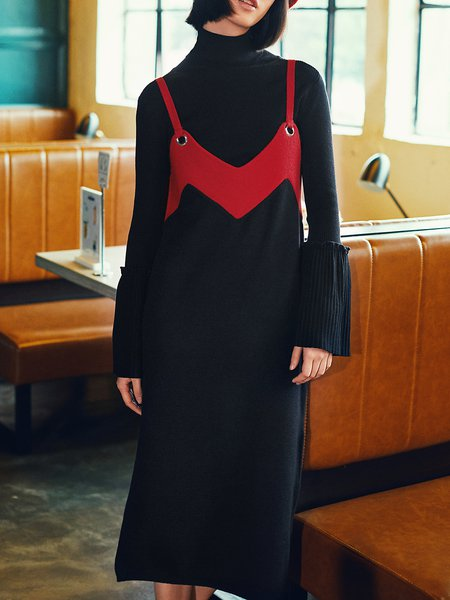 Black-red Ribbed H-line Casual Sweater Dress