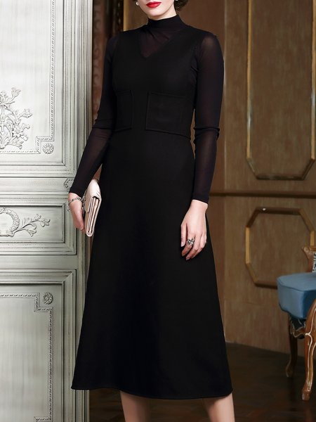 Casual Solid Wool Sleeveless Pockets Midi Dress