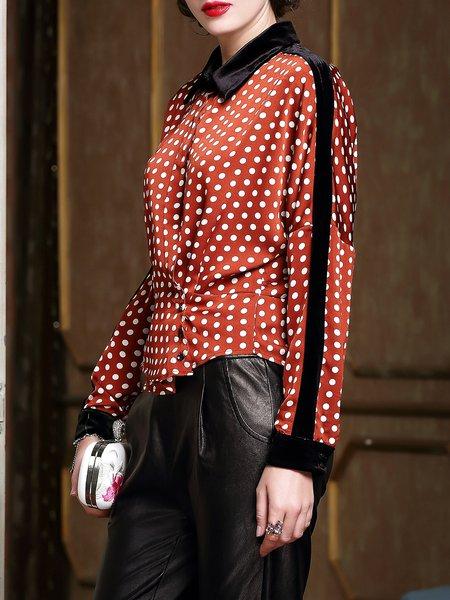 Long Sleeve Polka Dots Shirt Collar Casual Paneled Blouse