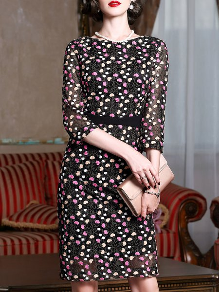 Black Bateau/boat Neck Floral-embroidered Elegant Floral Midi Dress