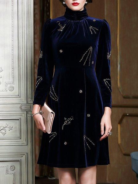 Dark Blue Velvet Turtleneck Long Sleeve Midi Dress