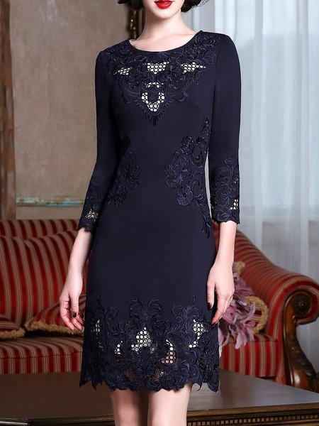 Elegant Solid Long Sleeve Cutout Midi Dress