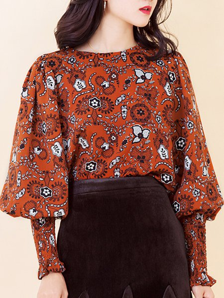 Printed Casual Balloon Sleeve Floral Crew Neck Blouse