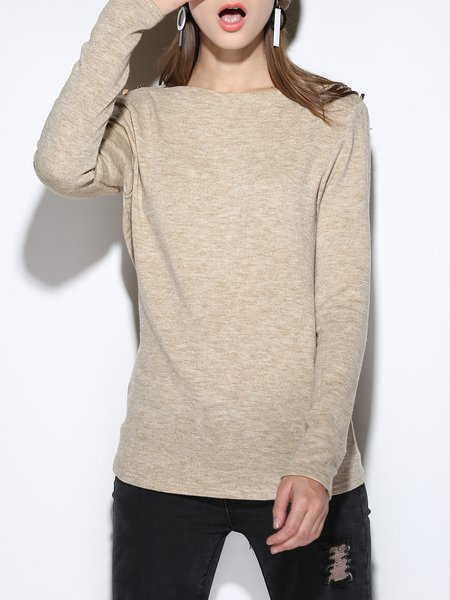 Knitted Long Sleeve Casual Bateau/boat Neck Buttoned Sweater