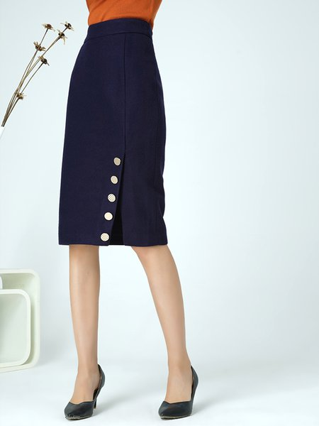 Blue Wool Casual Sheath Buttoned Midi Skirt