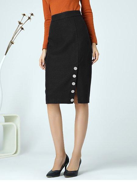 Black Sheath Casual Slit Solid Midi Skirt
