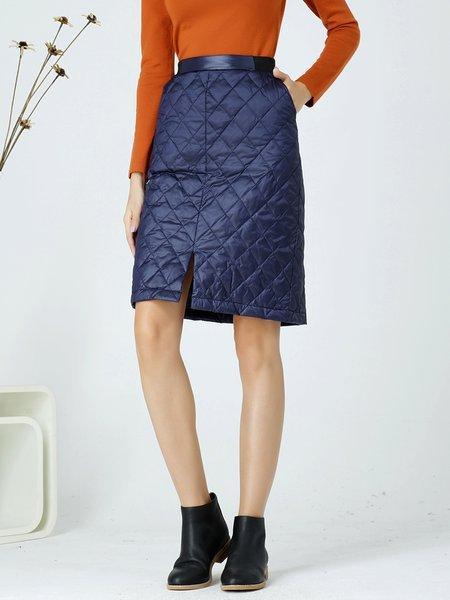 Blue Casual Slit Sheath Midi Skirt