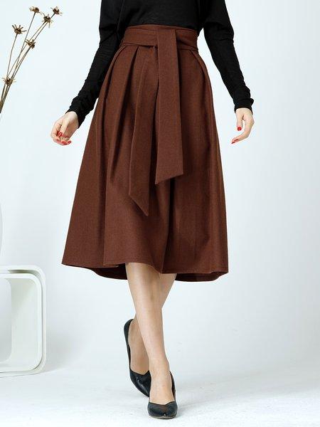 Caramel A-line Casual Solid Folds Midi Skirt