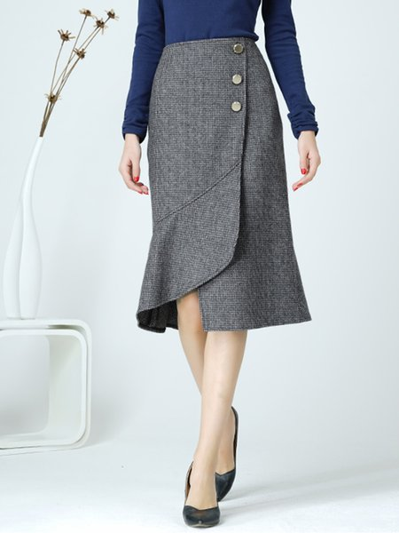 Gray Slit Asymmetrical Casual Gingham Midi Skirt