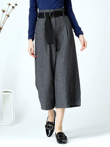 Gray Casual Geometric Folds Wide Leg Pants