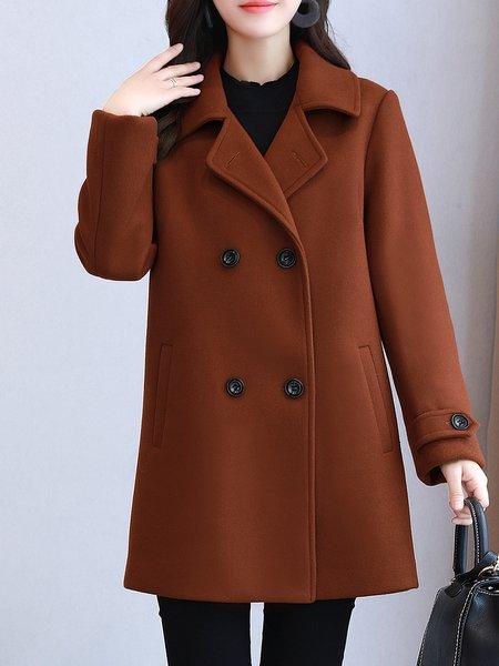 Caramel Buttoned Long Sleeve Coat