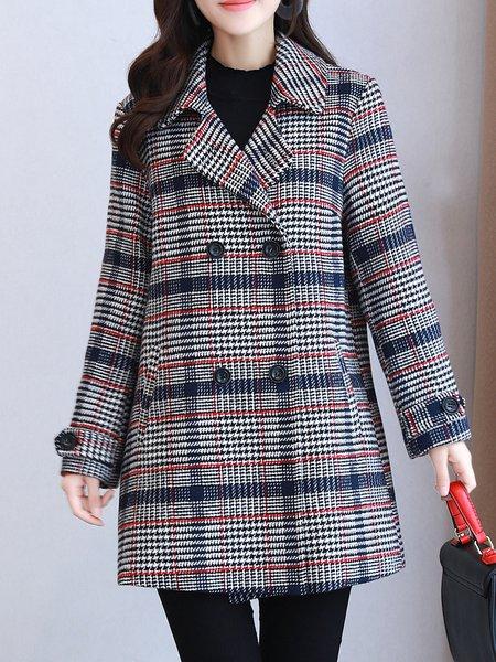 Casual Lapel Checkered/Plaid Wrap Coat