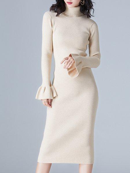 Turtleneck  Midi Dress Daytime Casual Ribbed Dress