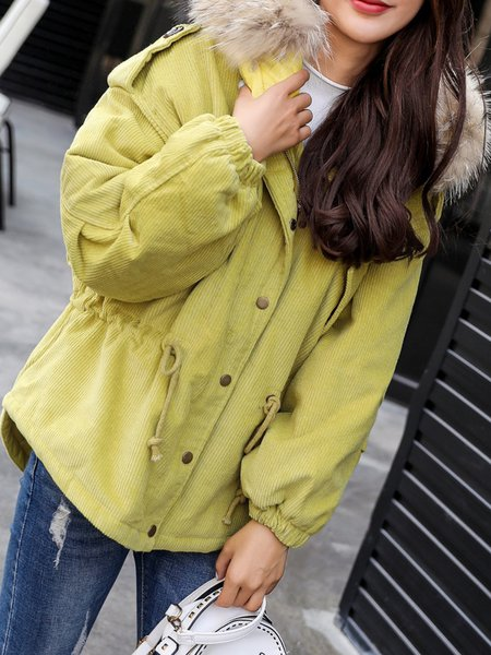 Solid Hoodie Pockets Casual Long Sleeve Fur And Shearling Coat