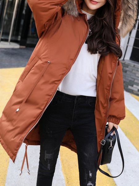 Solid Long Sleeve Casual Lace Up Fur And Shearling Coat