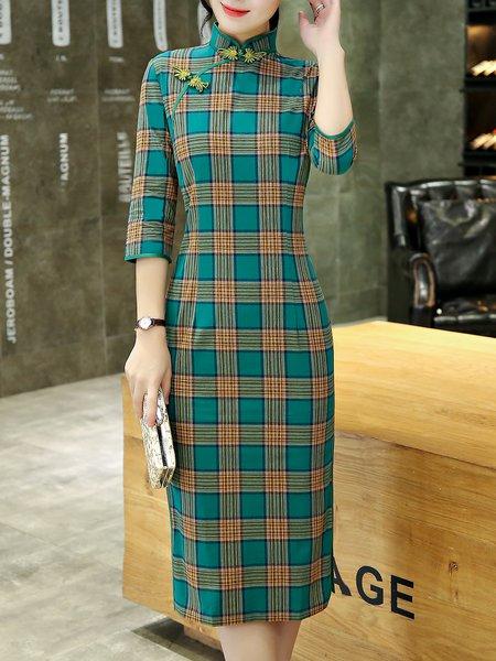 Stand Collar Elegant 3/4 Sleeve Checkered/Plaid Midi Dress