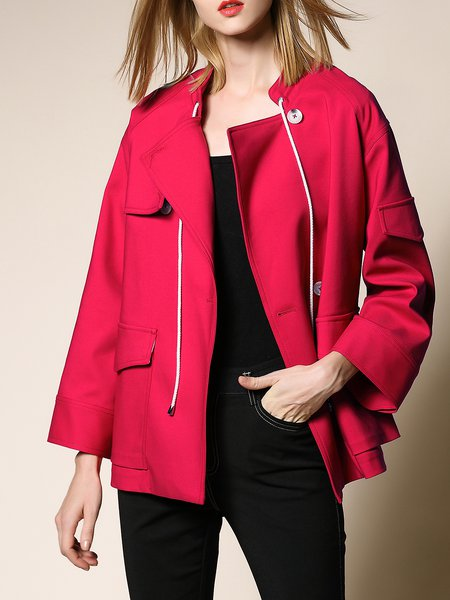 Plus Size Casual Solid Bow Long Sleeve Cotton Coat
