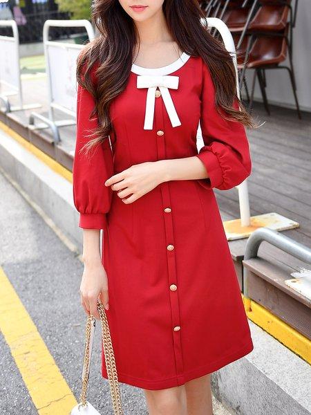 Red Midi Dress A-line 3/4 Sleeve Sweet Dress
