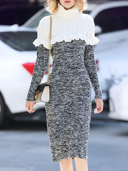 Turtleneck Long Sleeve Paneled Sheath Midi Dress