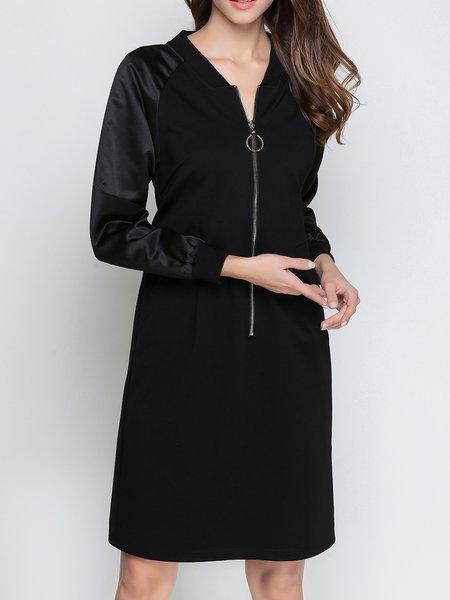 Solid Paneled Long Sleeve Casual H-line Midi Dress
