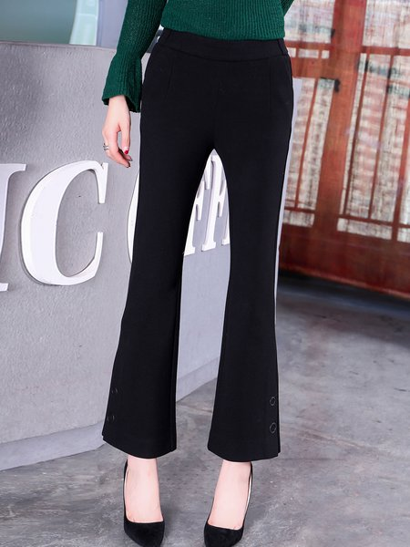 Black Casual Buttoned Flared Pants