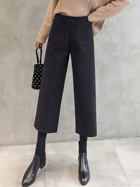 Casual Solid Pockets Wide Leg Pants