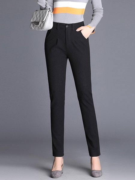 Solid Casual Straight Leg Pants