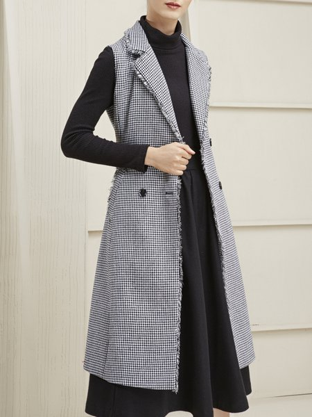 Gray Houndstooth Buttoned Casual Vests And Gilet