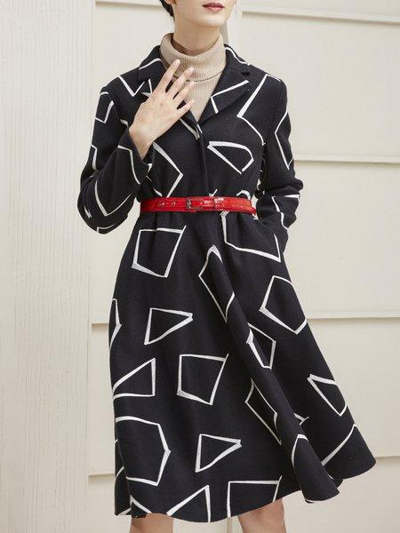 Black Long Sleeve Geometric Coat