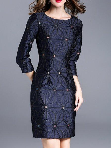 3/4 Sleeve Elegant Sheath Crew Neck Embroidered Midi Dress