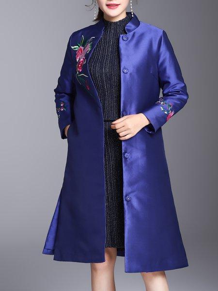 Blue A-line Floral-embroidered Elegant Coat