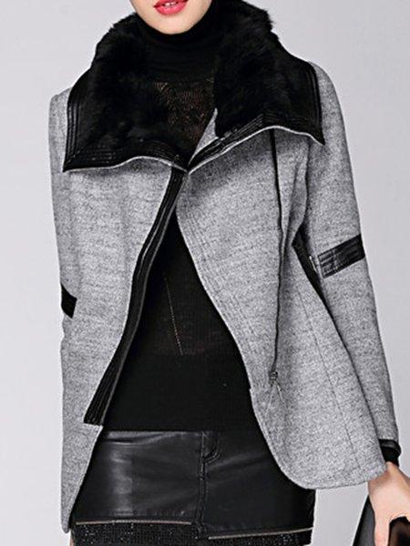 Paneled Long Sleeve Casual Shawl Collar Fur And Shearling Coats