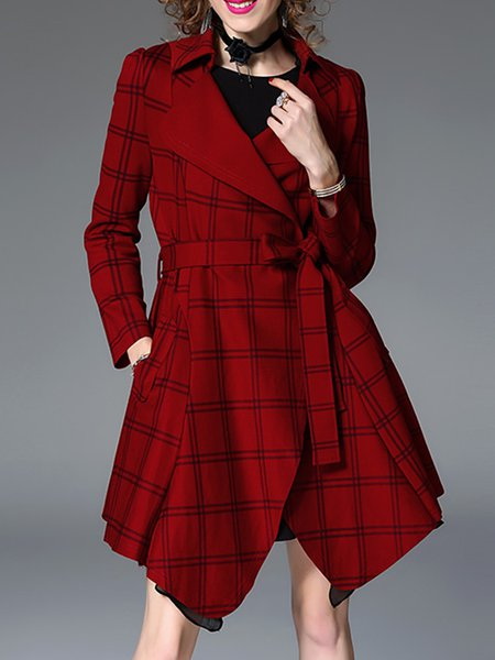 Casual Asymmetric Long Sleeve Trench Coat