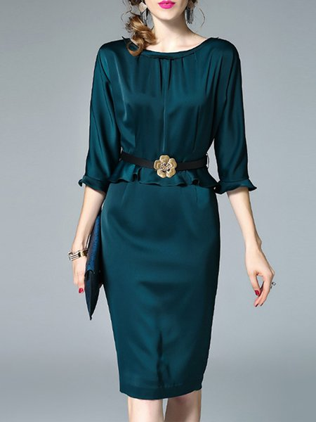 Frill Sleeve Elegant Sheath Midi Dress