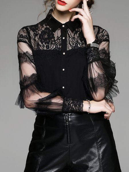 Black Solid Ruffled Long Sleeve Shirt Collar Blouse