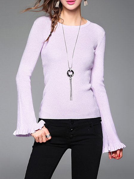 Frill Sleeve Knitted Ruffled Crew Neck Casual Sweater