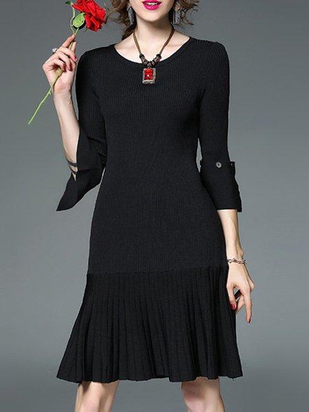 Bell Sleeve Elegant Flounce Sweater Dress